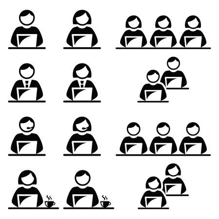 call centre: People working on laptop in office, call centre, school and cafe icons