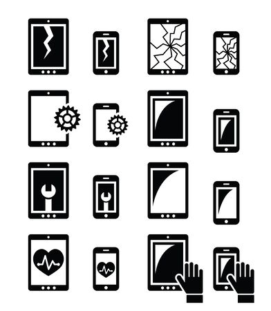 Smartphone, tablet repair - broken screen icons set Illustration