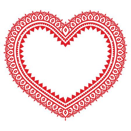 Heart red Mehndi design, Indian Henna tattoo pattern 向量圖像