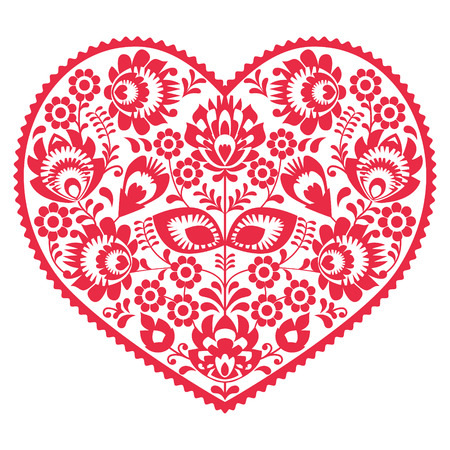 romantic love: Valentines Day folk art red heart - Polish pattern Wzory Lowickie, Wycinanki