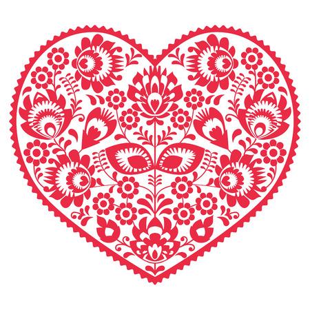 浪漫: 情人節民間藝術紅色心臟 - 波蘭模式Wzory Lowickie,Wycinanki 向量圖像
