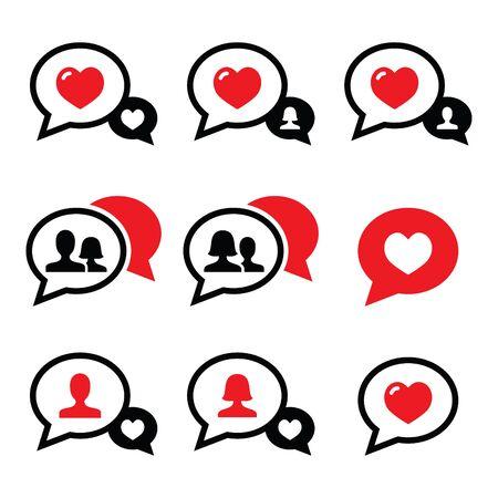 love couples: Love speech bubbles, couples icons set