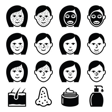 mujer fea: Problemas de la piel - acné, manchas iconos de tratamiento establecidos