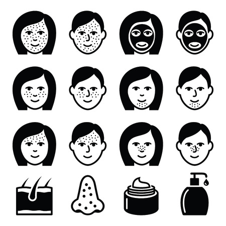 puberty: Skin problems - acne, spots treatment icons set Illustration