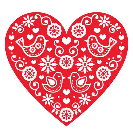 folk art: Folk art Valentines Day heart- love, wedding, birthday greetings card