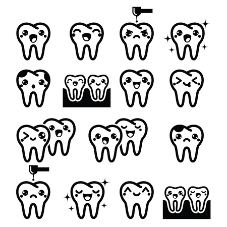 root canal: Tooth, cute teeth characters - black vector icons set