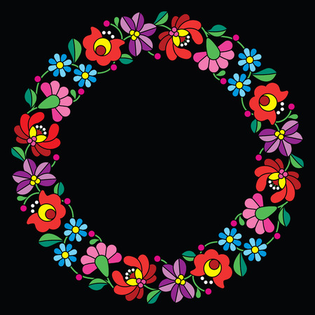 embroidery: Kalocsai embroidery in circle - Hungarian floral folk pattern on black