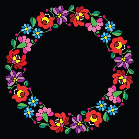 hungarian: Kalocsai embroidery in circle - Hungarian floral folk pattern on black