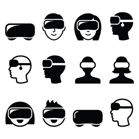Virtual reality headset for 3D gaming, viewing icons Vectores
