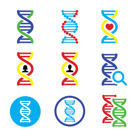 magnyfying glass: DNA, genetics icons set Illustration