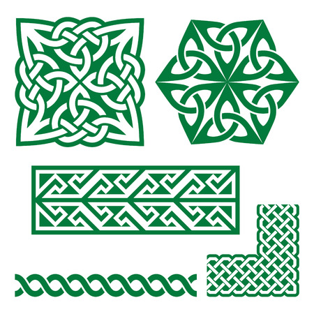 british culture: Celtic Irish green patterns and knots - St Patricks Day