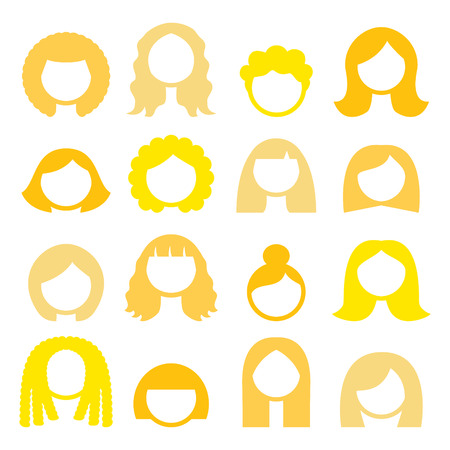blond hair: Blond hair styles, wigs icons set - women Illustration