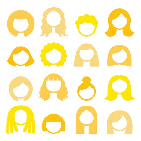 hair blond: stili di capelli biondi, parrucche icons set - donne
