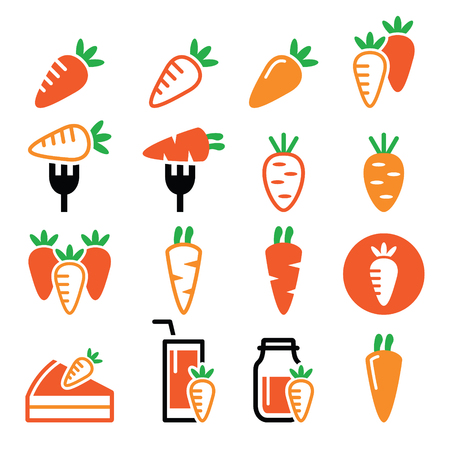 meals: Carrot, carrot meals - cake, juice icons set