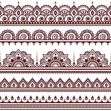 indische muster: Mehndi, Indian Henna Tattoo braun nahtlose Muster, Design-Elemente Illustration