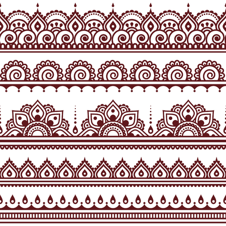 Mehndi, Indian Henna tattoo brown seamless pattern, design elements