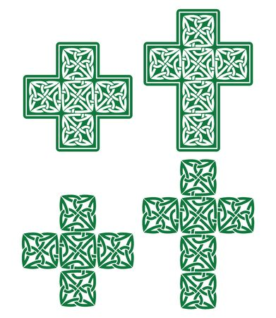 british culture: Celtic cross - set of traditional green designs from Ireland Illustration