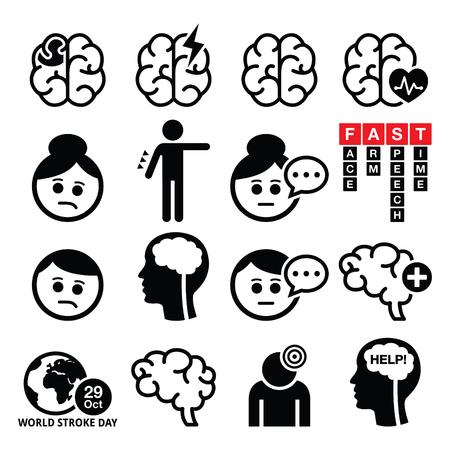 cerebro blanco y negro: iconos ictus cerebral - lesión cerebral, el concepto de daño cerebral