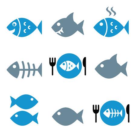 skeletons: Fish, fish on plate, skeleton icons