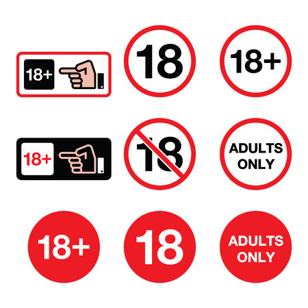 Menores de 18 años, adultos solamente la señal de peligro