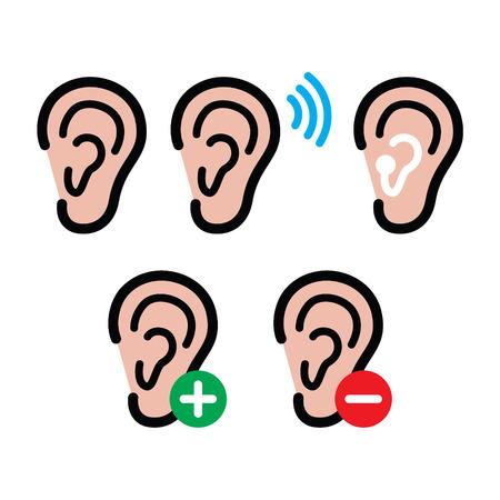 sensory perception: Ear hearing aid, deaf person - health problem icons set Illustration