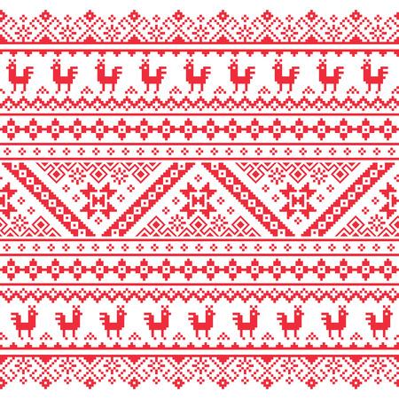 ウクライナ、ベラルーシの赤い刺繍シームレス パターン - Vyshyvanka