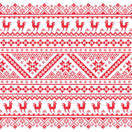 red cross red bird: Ukrainian, Belarusian red embroidery seamless pattern - Vyshyvanka