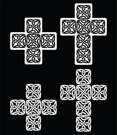Celtic Cross Set Of Traditional Designs In White On Black Royalty
