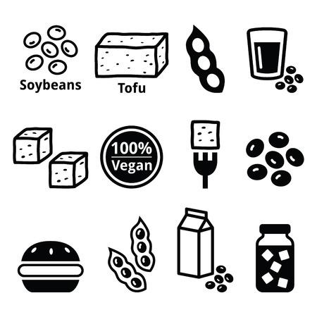 soya: Soy beans, soya, tofu icons set