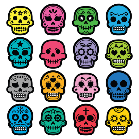 skeleton cartoon: Halloween, Mexican sugar skull, Dia de los Muertos - cartoon icons Illustration