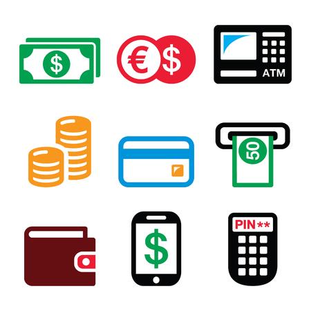 cash: Dinero, ATM - cajero automático iconos del vector fijaron Vectores
