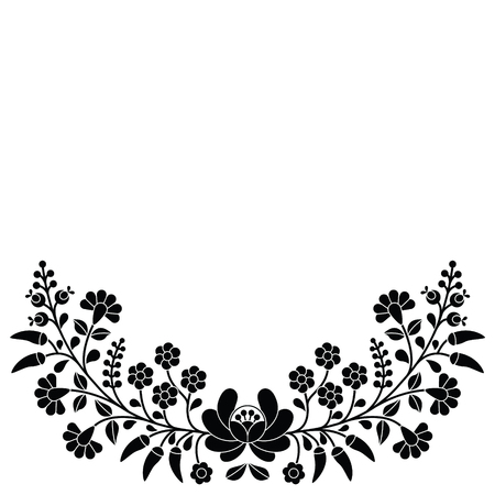 etno: Hungarian black floral folk pattern - Kalocsai embroidery with flowers and paprika Illustration