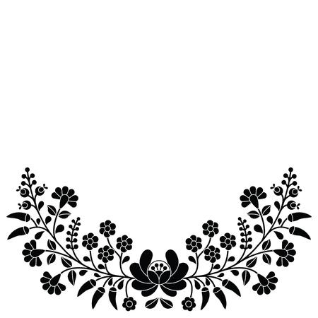 Hungarian black floral folk pattern - Kalocsai embroidery with flowers and paprika Ilustração