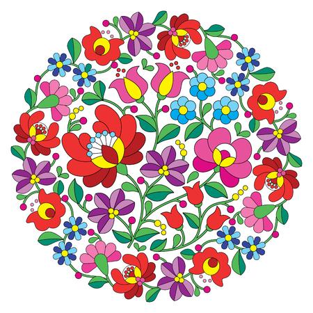 bordado: Kalocsai arte popular del bordado - folk patrón floral redondo de Hungría Vectores