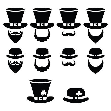 patron: Leprechaun character for St Patricks Day in Ireland - black icons set Illustration