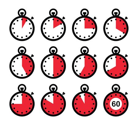 cooking time: Time, clock, stopwatch red vector icons set