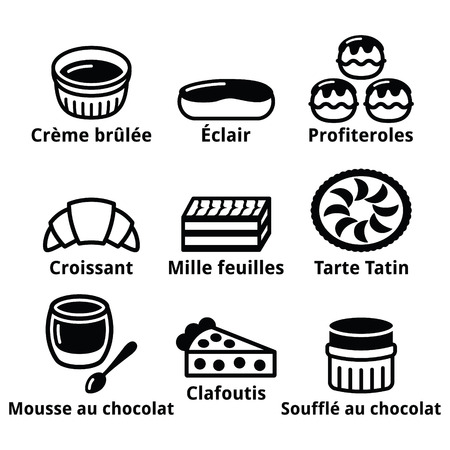 souffle: French dessert, pastry and cakes icons - creme brulee, chocolate mousse, souffle Illustration