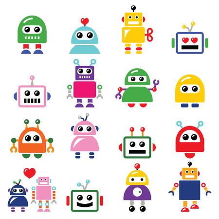 robot: Samce i samice robota, ustaw ikony AI Sztuczna inteligencja