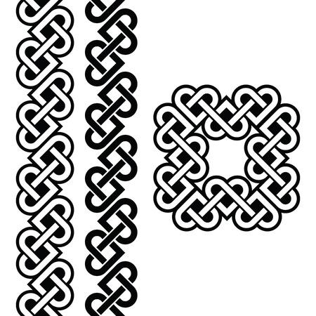 ancient ireland celtic cross: Celtic Irish knots, braids and patterns Illustration
