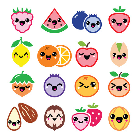 kiddy: fruit and nuts cute characters design