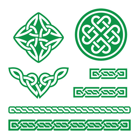 handcarves: Celtic green knots, braids and patterns - vector Illustration