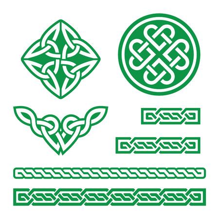 Nudos celtas verde, trenzas y patrones - vector