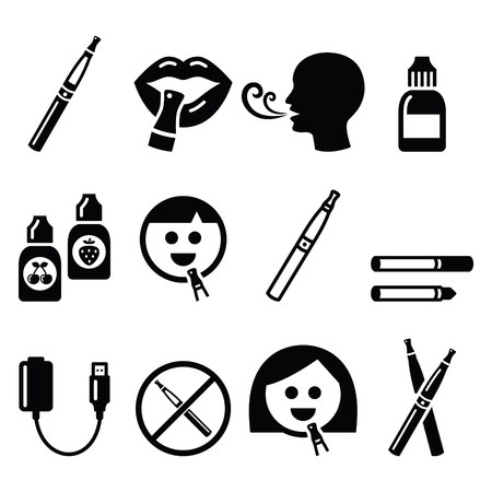 vaporizer: Electronic cigarette, e-cigarette and accessories icons Illustration