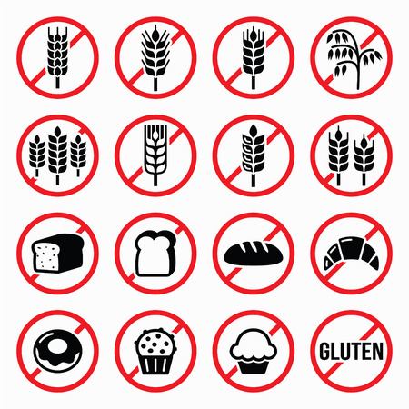 no alcohol: Gluten free signs, no wheat, no bread, no cake signs Illustration
