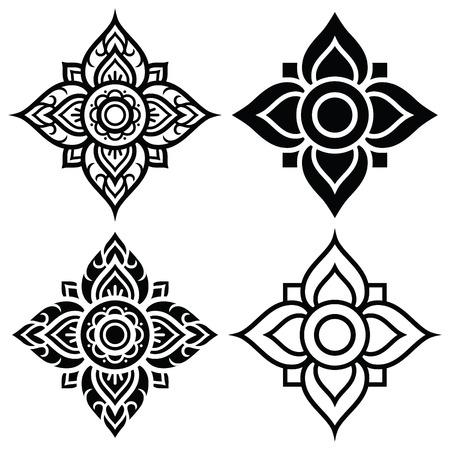 vintage art: Thai folk art pattern - flower shape