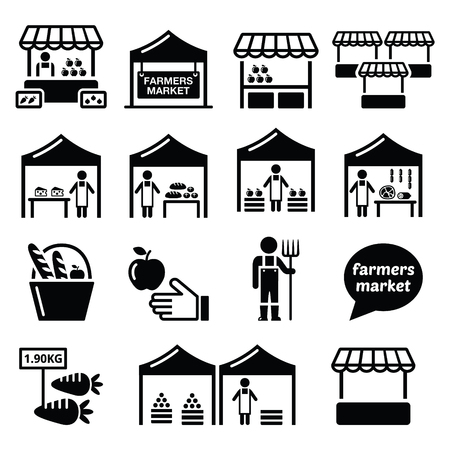 pitchfork: Farmers market, food market with fresh local produce icons set