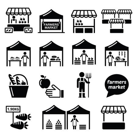 Farmers market, mercato alimentare con nuove icone di prodotti locali set