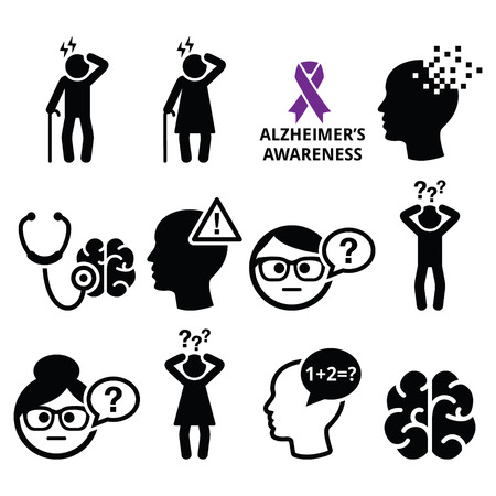 warning signs: Seniors health - Alzheimers disease and dementia, memory loss icons set