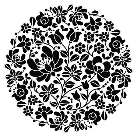 bordado: Kalocsai arte popular del bordado - negro patrón floral redondo popular de Hungría