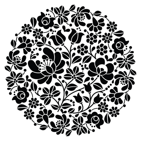 embroidery: Kalocsai folk art embroidery - black Hungarian round floral folk pattern